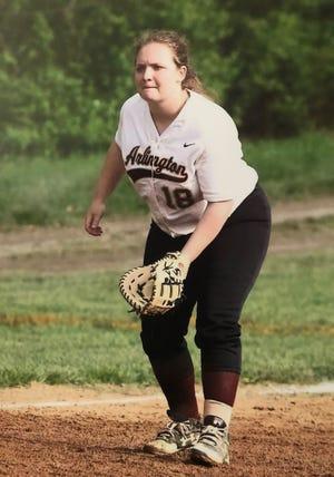 Kat Tompkins of the Arlington High School softball team
