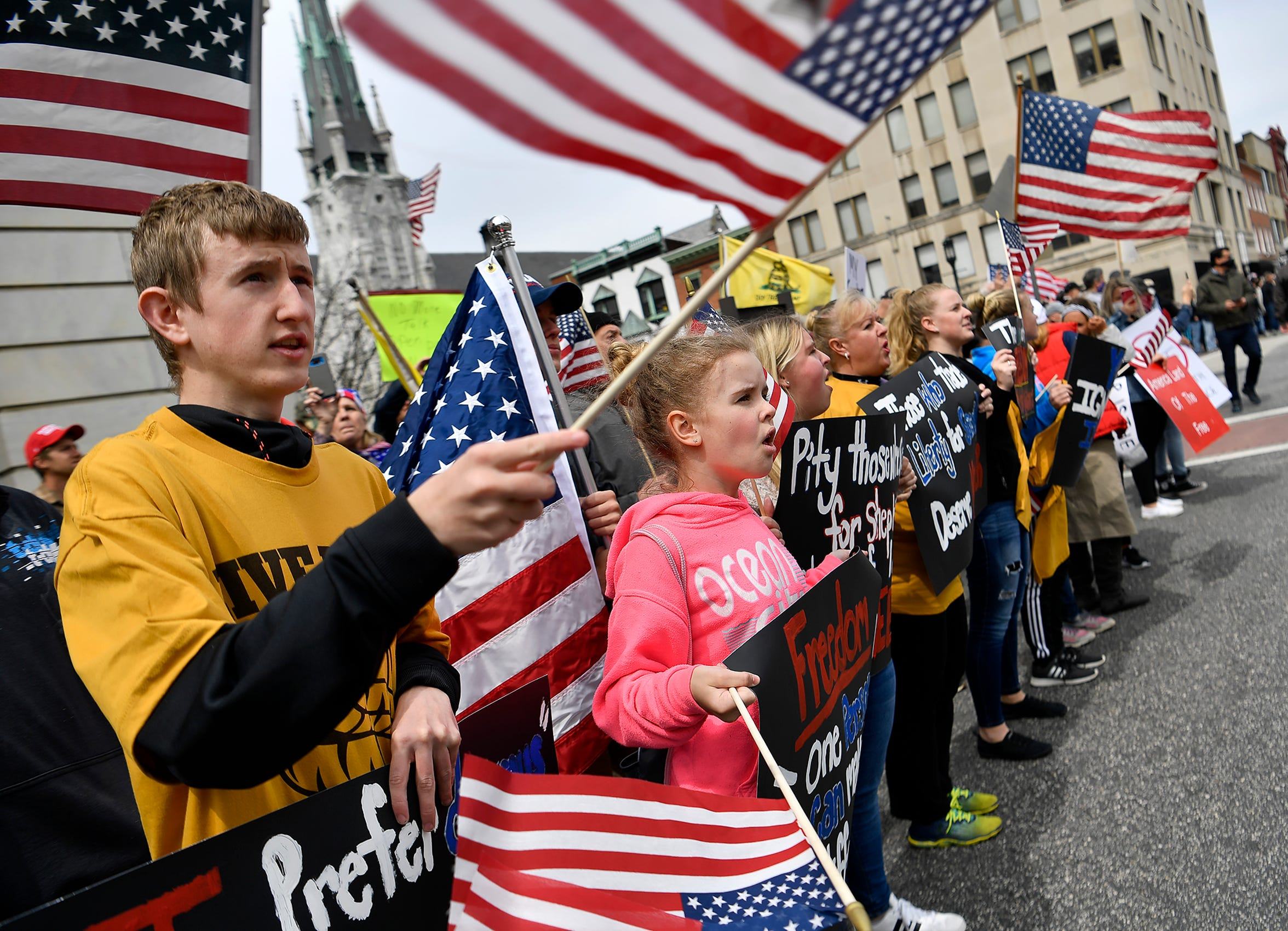 Thousands rally to reopen Pennsylvania in front of the Capitol Building in Harrisburg, Monday, April 20,2020.John A. Pavoncello photo
