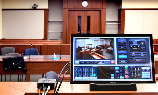 The Zoom video platform has replaced live court hearings at the York County Judicial Center Monday, April 20, 2020. Bill Kalina photo