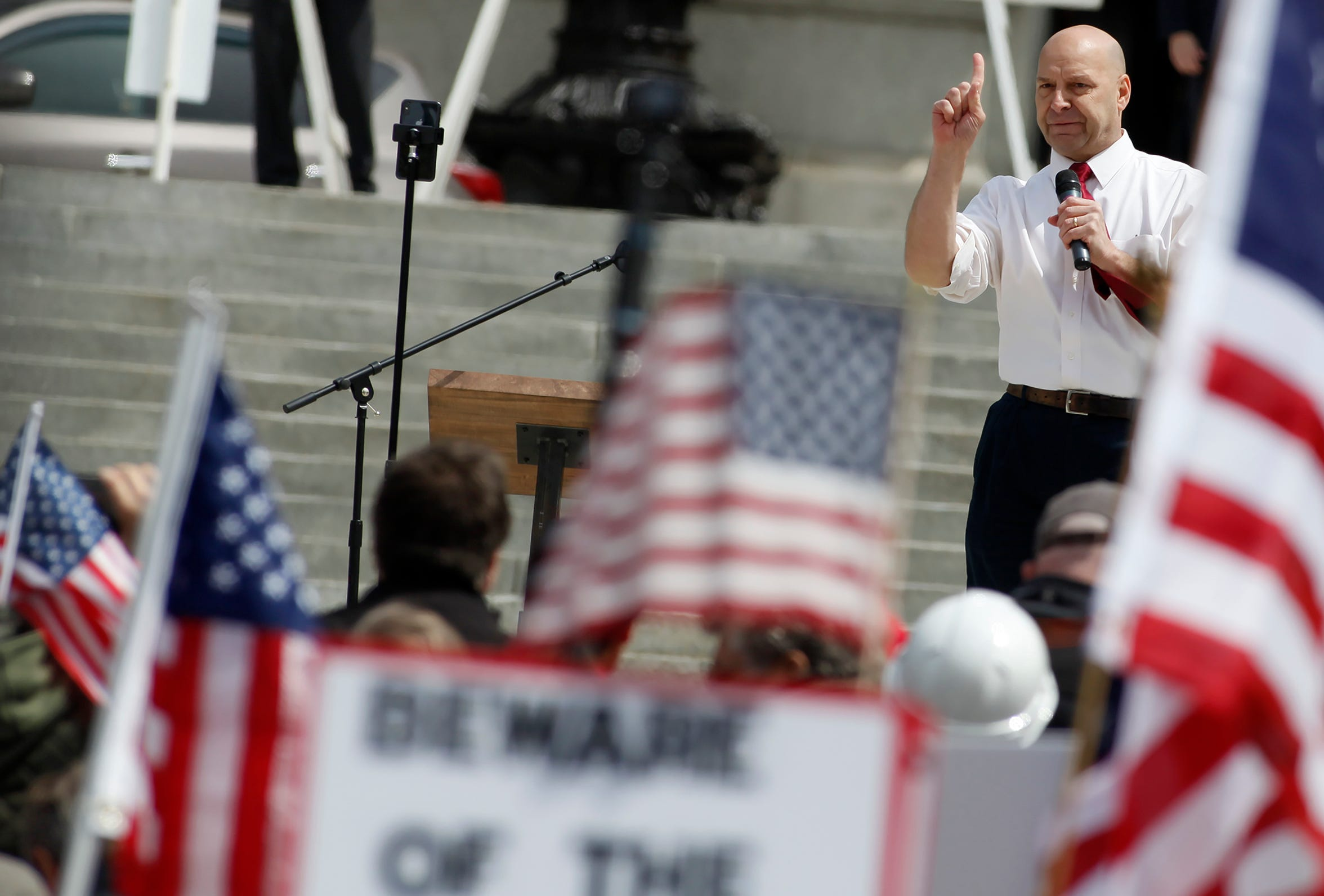 Sen. Doug Mastriano, R-Adams, speaks to thousands that attend a rally to reopen Pennsylvania in front of the Capitol Building in Harrisburg, Monday, April 20,2020.John A. Pavoncello photo