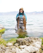 Autumn Harry, 27, a member of the Pyramid Lake Paiute Tribe, is catching, cleaning and distributing Lahontan cutthroat trout to elders and others in the community because she recognizes the importance of maintaining healthy food sources during the emergency, especially for people who can't leave their houses.
