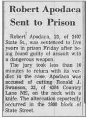 A clip from Robert Apodaca's 1968 conviction in Salem.