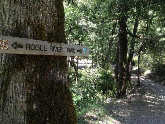 A sign marks the Rogue River Trail.