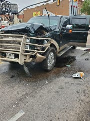 A pick-up truck crashed with a SporTran bus Monday morning at the intersection of Spring and Texas Streets in downtown Shreveport.