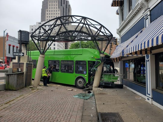 A SporTran bus was involved in a crash near a restaurant at the intersection of Spring and Texas Streets in downtown Shreveport.