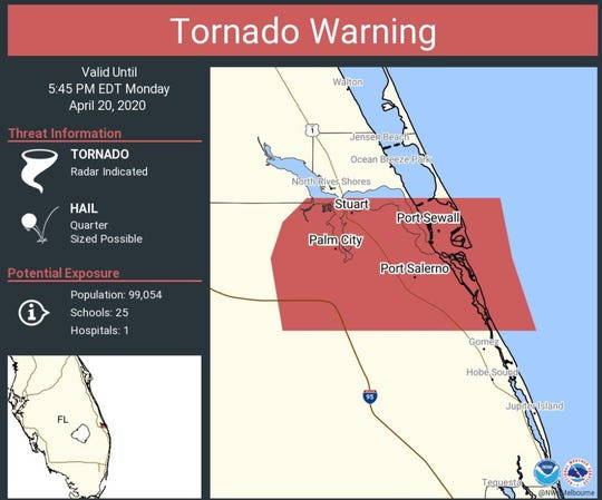 The National Weather Service issued a tornado warning for Palm City and Port Salerno April 20, 2020.