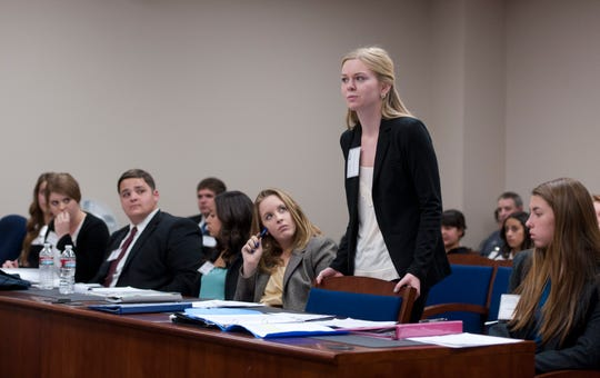 In this 2014 file photo, Colleen Busby was part of the Mt. Whitney mock trial team.