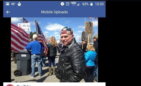 A screen grab from Dr. David Murdock's personal Facebook page shows him at the Open Wisconsin Now protest held Sunday in Mosinee. Aspirus placed Murdock on leave, and he admitted attending the rally in violation of the governor's Safer at Home order.
