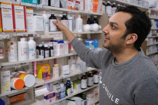 Capsule CEO Eric Kinariwala at pharmacy in Manhattan.