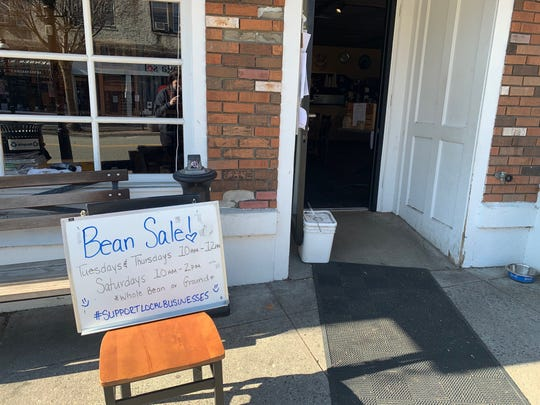 Life during the coronavirus: Beans for sale at The Black Cow Coffee Co. in Croton. No customers are allowed in the store.