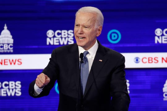 Democratic presidential candidate former Vice President Joe Biden, speaks during a Democratic presidential primary debate at the Gaillard Center in Charleston, S.C., co-hosted by CBS News and the Congressional Black Caucus Institute. The Congressional Black Caucus PAC is endorsing Biden's presidential bid.