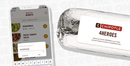 """Chipotle says it will donate burritos to """"healthcare heroes"""" when consumers name their online order 4HEROES from April 21-26."""