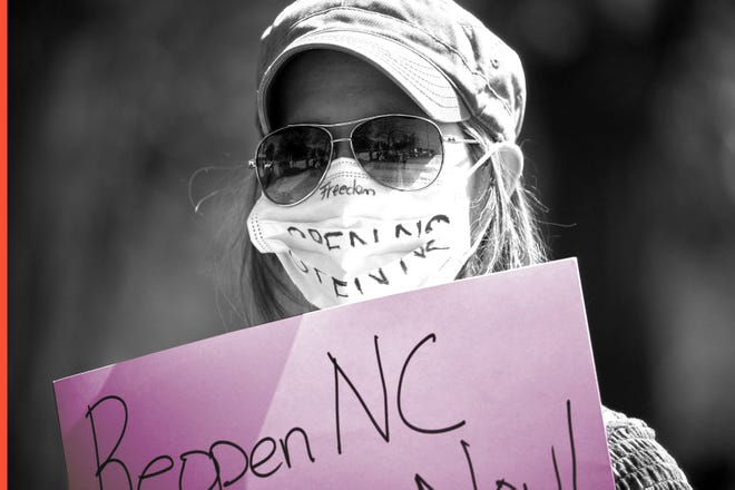 Protesters from a grassroots organization called REOPEN NC protests the North Carolina coronavirus lockdown at a parking lot adjacent to the North Carolina State Legislature in Raleigh, N.C., on April 14, 2020