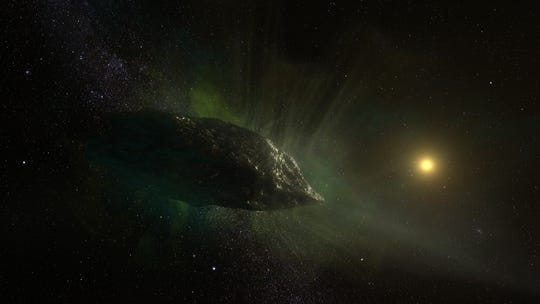 An artist's impression of the interstellar comet 2I/Borisov as it travels through our solar system. This mysterious visitor from the depths of space is the first conclusively identified comet from another star.