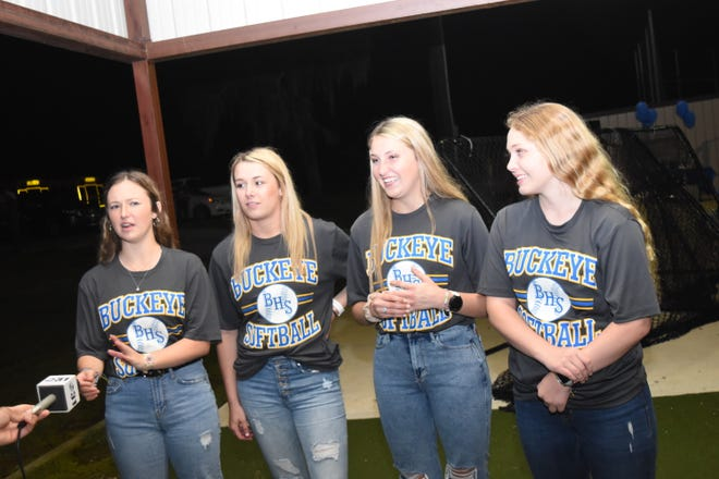 The Buckeye High School softball team held a tribute Monday evening, April 20, 2020 at their softball field for four of their senior players: Peyton Barrett, Jordan Campbell, Maddie Dauzart and Layni Smith. The team wanted to do something special for the girls who missed out on playing their last season due to the COVID-19 pandemic.