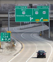 A single car takes the exit from Interstate 41 toward U.S. 10/State 441 on Tuesday in Fox Crossing.