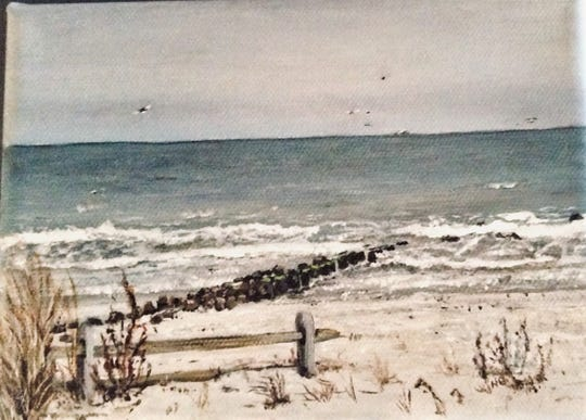 """""""Winter Beach,"""" a painting by Natalie Barringer, at Riverfront Renaissance Center For The Arts in Millville."""