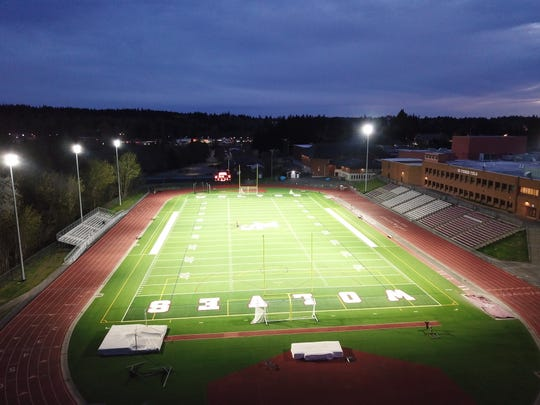South Kitsap School District illuminated the empty Ed Fisher Field on April 17, 2020, during the COVID-19 stay-home order to honor the high school's Class of 2020. The tribute was held under the hashtag #BetheLight