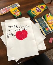 Thank you note sent from a Johnson Elementary student to Arista Alanis, their art teacher, expressing thanks for the art supplies they received in the mail. Alanis, along with Vermont Studio Center, sent emergency art kits to every Johnson Elementary student in April 2020 while they were engaging in remote learning from home.