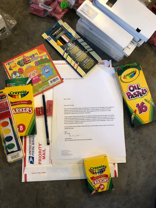 The emergency art kit received by Johnson Elementary students during remote learning in April 2020. The package was the idea and effort of Arista Alanis, the school art teacher and Community Coordinator for Vermont Studio Center.