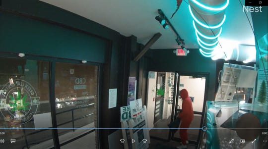 A photo taken from a video from Green Leaf Central's Nest camera shows one of several suspects in a burglary at the Burlington business on April 12, 2020.