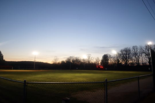 Lake Park in Coshocton was also lit up, along with Stewart Field, as Coshocton High School recognized seniors and first responders for Be the Light on Monday.