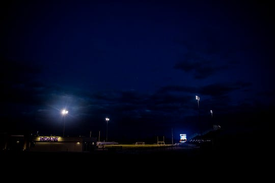 The Indianola High School football stadium lights and scoreboard turned on at 8:20PM, 20:20 in military time, on Monday, April 20, 2020, to honor the studnets who had their senior year cut short by COVID-19.