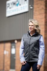 Amanda Richie, CEO of Plymouth Technologies poses for a photo outside of facility in Rochester Hills, Saturday, April 18, 2020.