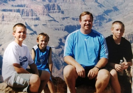 (From left) Tarik, Trey, Russ and Tyler Skubal at the Grand Canyon.