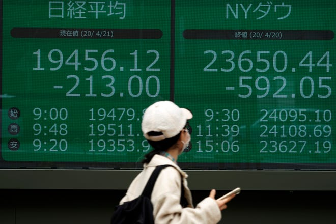 A woman walks past an electronic stock board showing Japan's Nikkei 225 and New York Dow index at a securities firm in Tokyo Tuesday, April 21, 2020. Asian shares skidded on Tuesday after U.S. oil futures plunged below zero.