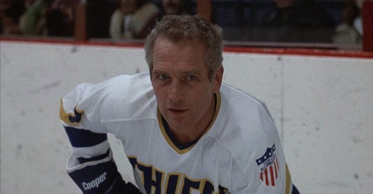 "Paul Newman in ""Slap Shot."""