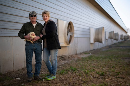 Kerry and Barb Mergen outside their now empty chicken house with a straggler who managed to elude the crew that came in on April 9 to euthanize the other 61,000 laying hens in their flock.