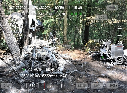 This photo of the site of a fatal small plane crash near Towanda is part of a final report on the incident.