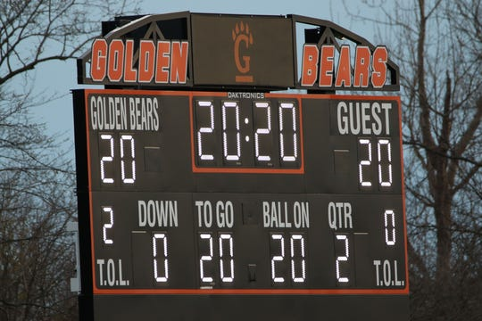 The scoreboard at Gibsonburg High School was lit for 20 minutes starting at 8:20 p.m. Monday (20:20 military time) to honor 2020 the class of 2020.