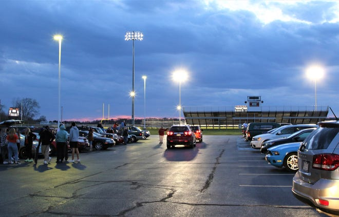 Schools across the state, like this one at Gibsonburg High School, lit up their football scoreboards Monday at 8:20 p.m., or 20:20 military time, for 20 minutes to honor the class of 2020, whose senior year events have been canceled because of the coronavirus pandemic.