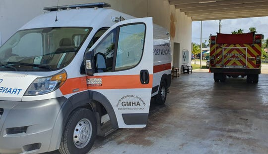 A Guam Memorial Hospital transport vehicle that will be used for the Guam Fire Department's Covid Transport Units to transport patients with COVID-19 symptoms.
