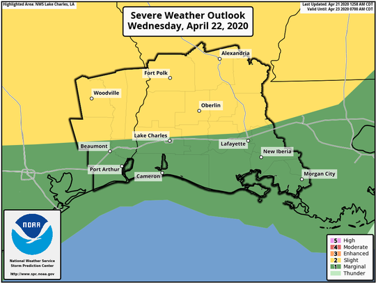 Louisiana, including Acadiana, is at risk of severe weather on Wednesday, April 22, 2020, according to this graphic from the National Weather Service's Storm Prediction Center.