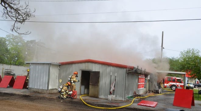 Lafayette firefighters battle fire on April 21, 2020, at the Daiquiri Depo on Evangeline Thruway.