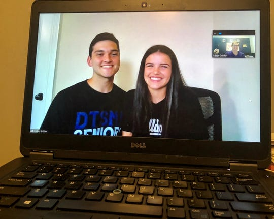 Stan Melton and Audrey Laper, siblings and seniors at David Thibodaux STEM Magnet Academy, talk on a Zoom call about what it's like to spend half of their last semester of high school quarantined at home with family.