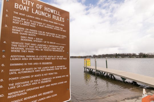 The Thompson Lake boat launch on Roosevelt Road in Howell, shown Tuesday, April 21, 2020, will see no motorboat use due to an order by Michigan Gov. Gretchen Whitmer.