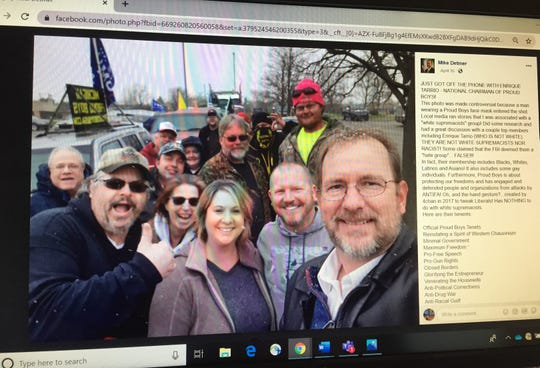 Republican congressional candidate Mike Detmer (right) posted this selfie on his Facebook page showing a member of the controversial group the Proud Boys, shown Tuesday, April 21, 2020. Detmer also posted a statement about the group.