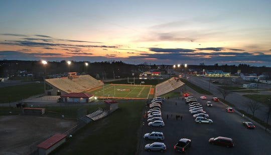 Students gathered in the Arlin Field parking lot on Monday evening to celebrate the class of 2020 when the lights were turned on for 20 minutes and 20 seconds at 8:20pm.