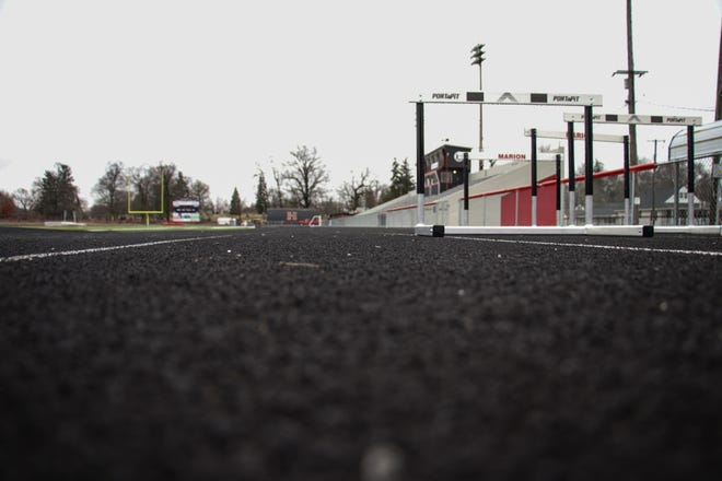 The all-weather track at Harding Stadium is dormant this spring as high school sports for the remainder of the academic year were canceled on Monday.
