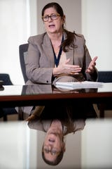 Alisa Haushalter, director of the Shelby County Health Department, answers questions from Commercial Appeal reporters Tuesday, April 21, 2020, at the Shelby County Administrative Building in downtown Memphis.