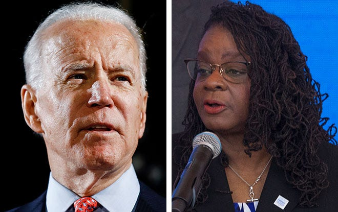 Former Vice President Joe Biden and U.S. Rep. Gwen Moore, D-Wis.