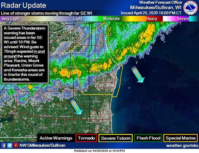 This radar image shows the line of storms that moved through eastern Wisconsin late Monday night.