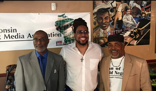 James E. Causey (center) with his two mentors: former Milwaukee Journal Sentinel columnist Eugene Kane (left) and MIlwaukee Community Journal columnist Mikel Holt at a Wisconsin Black Media Association fundraiser in 2017.