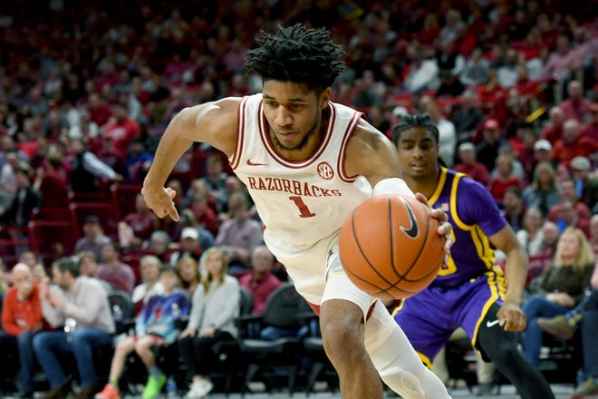 Arkansas guard Isaiah Joe (1) against LSU during a game on March 4, in Fayetteville.