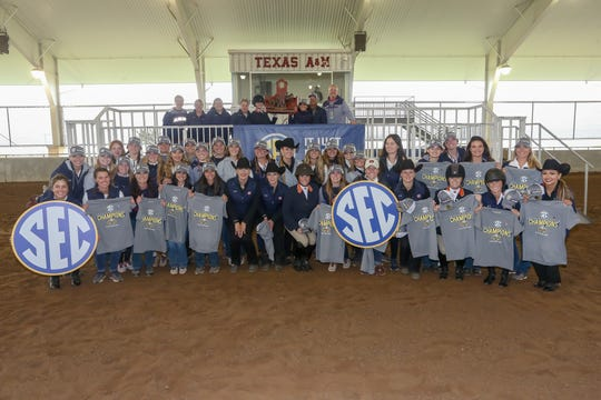 The Auburn equestrian team celebrates winning the 2019 SEC Championship on March 30, 2019, in College Station, Texas.