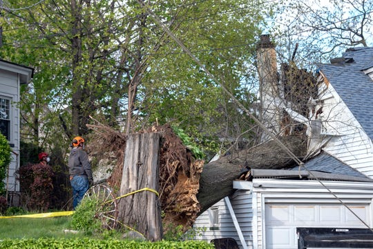 A fallen tree crashed into home at 645 Valley Brook Ave. causing structural damage in Lyndhurst on April 21, 2020.